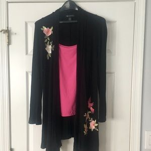 INC Long Open Cardigan with Embroidery